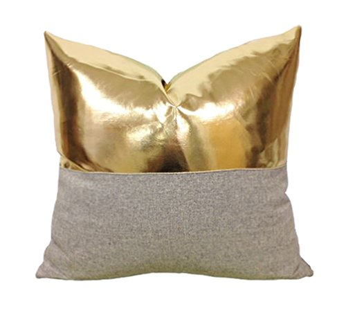 Pillow Modern Decorative (Kdays Halfgold Pillow Cover Designer Modern Throw Pillow Cover Decorative Faux Leather Pillow Cover Handmade Cushion Cover 22x22 Inches)