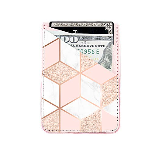 Phone Card Holder uCOLOR PU Leather Wallet Pocket Credit Card ID Case Pouch 3M Adhesive Sticker on iPhone Samsung Galaxy Android Smartphones (Rose Gold Glitter White Marble)
