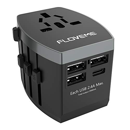 - All in One Universal Travel Adapter,FLOVEME W/High Speed 3 USB Charging Ports + Type C USB Wall Charger,Perfect International Travel Adapter and Converter,Worldwide AC Outlet Power Plug Adapters,Black
