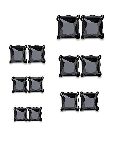 - Udalyn 6 Pairs Stainless Steel Magnetic Earrings Square CZ Stud Earrings Set For Men Women Black-tone
