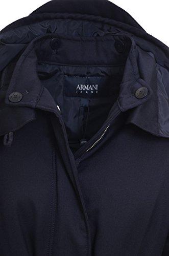 Con Cappuccio Blu Cintura Donna Lana Jeans Armani Over Scuro Cappotto 6y5l12 Trench OWvnqXvI4S