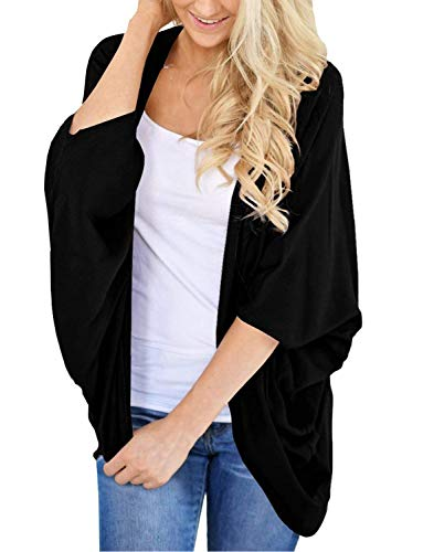 Very Light Jersey Cardigan - Womens Kimono Cardigan Sweater Open Front Loose Fit Cardigans Cover Up Black XXX-Large