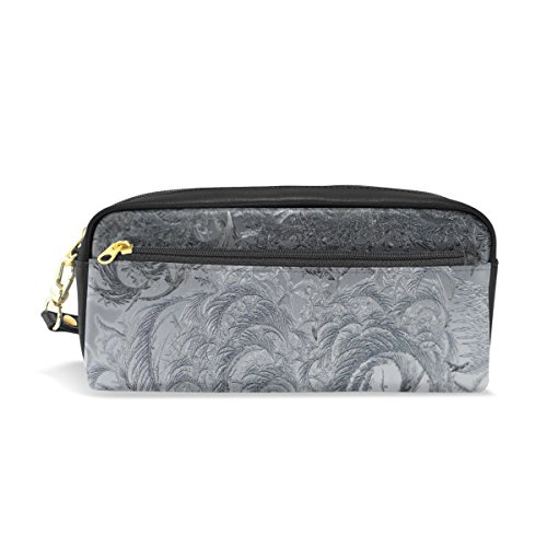 DNOVING Pencil Case Stylish Print Abstract Ice Frost Crystals Frozen Cold Glass Art Pattern Large Capacity Pen Bag Makeup Pouch Durable Students Stationery Two Pockets with Double Zipper