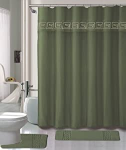 Charming Sage Green Shower Curtain Set 4 Piece Set With Rugs And Rings 0040