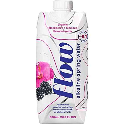 Flow Alkaline Spring Water, Organic Blackberry + Hibiscus, Natural Alkaline Water pH 8.1, Electrolytes + Essential Minerals, Eco-Friendly Pack, 100% Recyclable, BPA-Free, Non-GMO, Pack of 12 x 500ml
