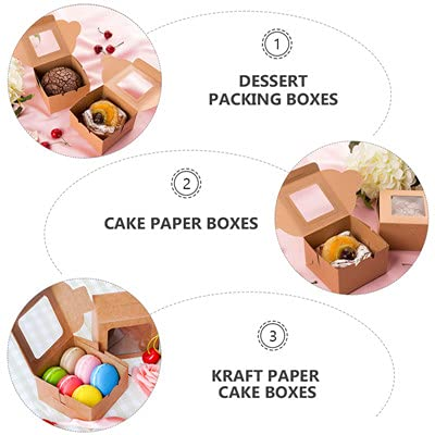 Brown Bakery Boxes, 25PACK Cupcake Boxes with 50 Yards Ribbon   4\