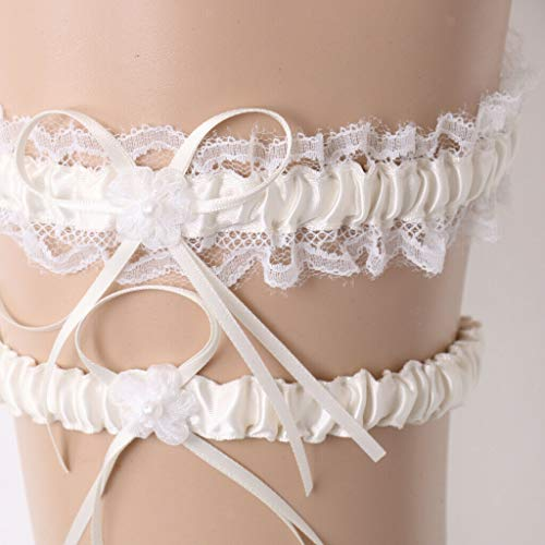 Wedding Bride Lace Garter Set Elastic Lace Garter Bridal Shower AccessoryР'В |Color - Beige| -
