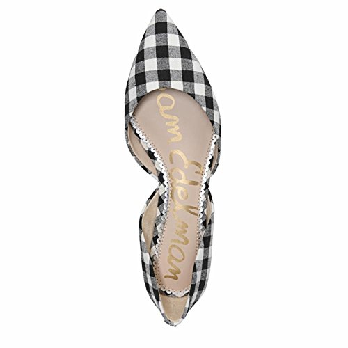 Sam Edelman Womens Rodney Ballet Flat Black/White Large Gingham Weave