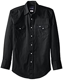 Wrangler Men\'s Authentic Cowboy Cut Work Western Long Sleeve Shirt, Black Forest Green, Large/Tall