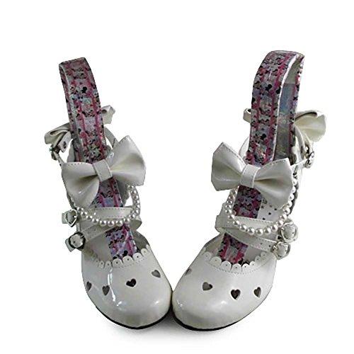 Avacostume Femmes Lolita Volants Bowknot Chunky Talons Sandales Chaussures Blanc