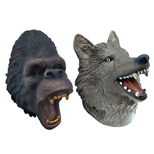 - Zerospace Wolf and Gorilla Hand Puppet Toys,Soft Rubber Realistic Wolf and Gorilla Head