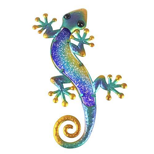 Liffy Metal Gecko Wall Art Lizard Outdoor Decor Garden Decorations Blue, 15.2'' Long ()