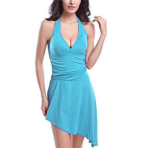 JIAJIA - Camisola - cuello hálter - Básico - Sin mangas - para mujer Azul