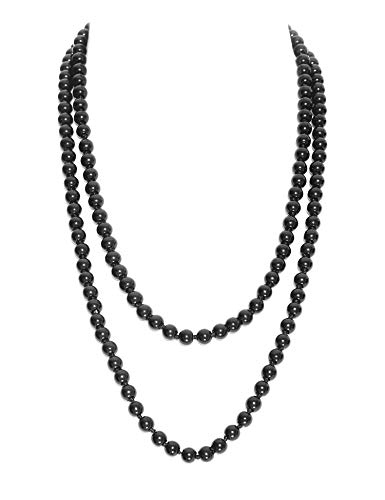 atsby Faux Pearls Flapper Beads Cluster Long 1920s Necklace 59'' (Black) ()