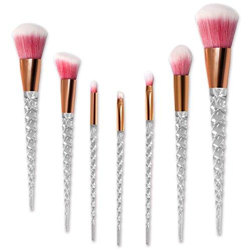 (Makeup Brushes,Nanja 7 Pieces Modern Crystal Unicorn Handle make up brushes Premium Synthetic Kabuki Foundation Face Powder Blush Eyeshadow Brushes Unicorn Makeup Brushes Set with Travel Bag (Pink))
