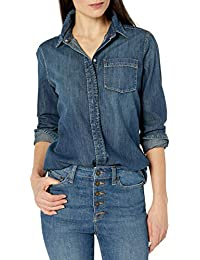 Amazon Brand - Goodthreads Women's Denim Long-Sleeve Boyfriend Shirt