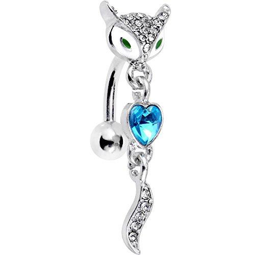 Body Candy Steel Blue Accent Heart Fierce Foxy Fox Dangle Top Mount Belly Ring