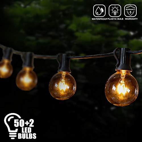 Brillihood 50Ft LED Patio String Light G40 Globe String Light- Shatterproof, Warm White, Indoor Outdoor Hanging Decorative String Light for Garden Wedding Party Bistro Home Decor (50+2 Bulbs) from Brillihood