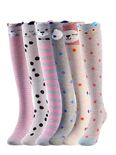 Cartoon Animal Cat Bear Fox Cotton Over Calf Knee High Socks 6 Colors