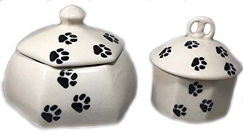 Set of 2 Polish Pottery Trinket Jewelry Boxes Lidded Containers in LAPA or Paw Prints