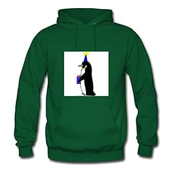 Women Birthday Penguin Hoody -x-large Customized Printed Green