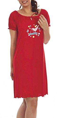 Graziella Nachthemd Katja 95 cm lang Sleepshirt mit Kräuselsaum 40/42 Nachtwäsche 100% Baumwolle