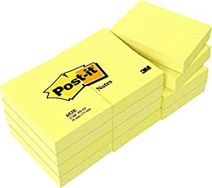 Post-it Notes. 1 3/8 X 1 7/8 Inches, Canary Yellow, 12-Pads/Pack