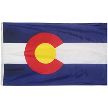 Colorado State Flag 3x5 ft. Nylon SolarGuard Nyl-Glo 100% Made in USA to Official State Design Specifications by Annin Flagmakers.  Model 140660