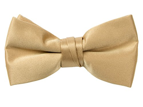 - Spring Notion Boys' Pre-tied Banded Satin Bow Tie Medium Antique Gold
