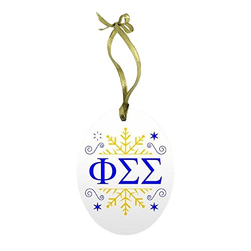 (Express Design Group Phi Sigma Sigma Holiday Color Snowflake Glass Christmas Ornament)