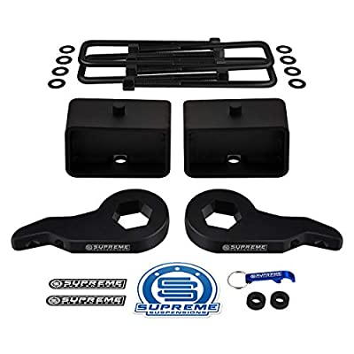 "Supreme Suspensions - Full Lift Kit for Tahoe/Suburban/Yukon / K1500 Adjustable 1"" to 3"" Front Lift Torsion Keys + 2"" Rear Lift Blocks + Square Bend U-Bolts: Automotive"