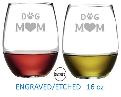 Dog Mom Stemless Wine Glasses   Etched Engraved   Perfect Fun Handmade Present for Everyone   Dishwasher Safe   Set of 2   4.25