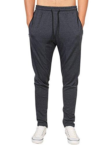 Mens Fashion Slim Fit Sweatpants Zipper Pockets Bottoms Workout Jogger Pants (Dark Grey-XL)