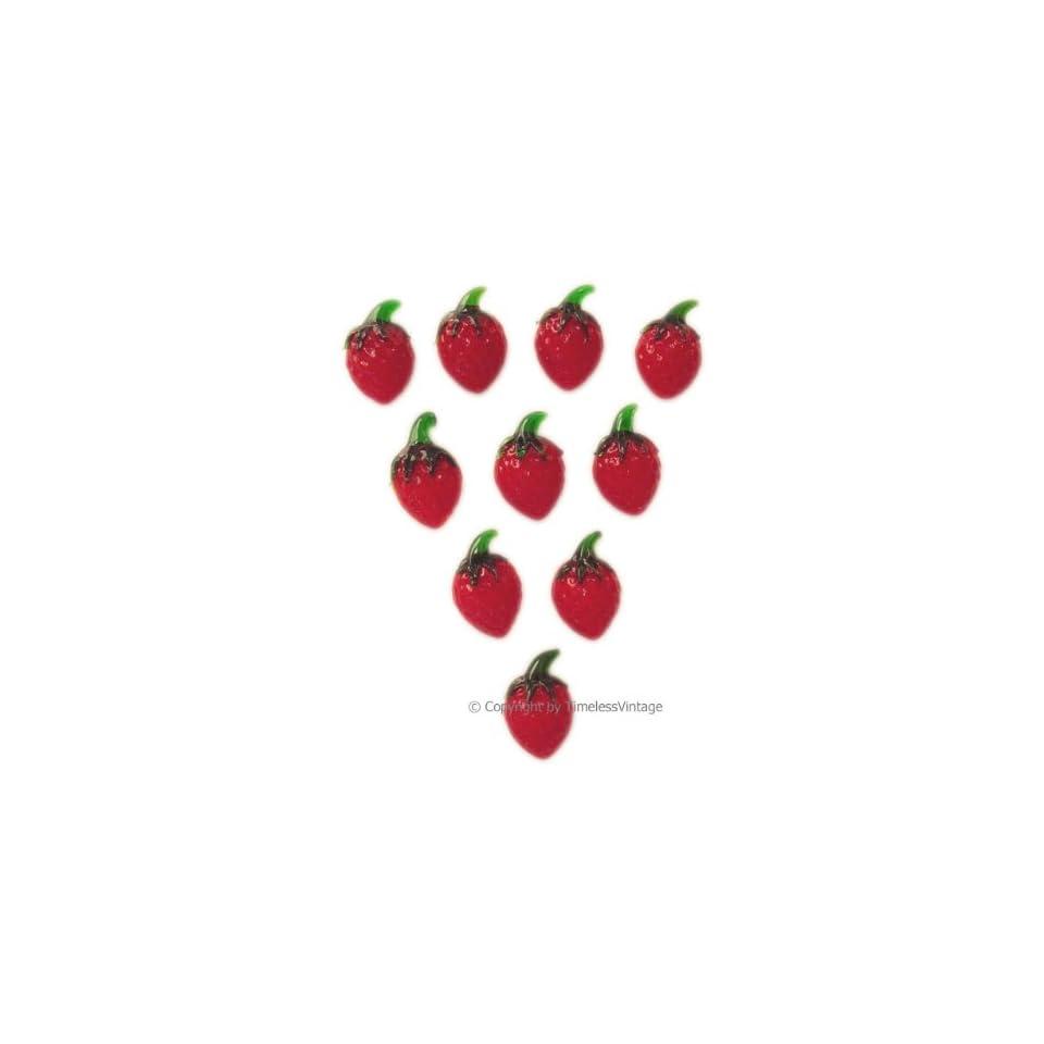 10 Art Glass Strawberry Fridge Refrigerator Magnets