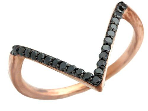 Rings Gold Wishbone (Prism Jewel 0.25 Carat Round Black Diamond Wishbone Ring, 10k White Gold Size 7)
