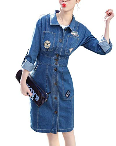 Jacket Di Jeans Manica Eleganti Fit Bavero Denim Ricamo Slim Giacche Blau Cappotto Casual Marca Fashion Donna Primaverile Mode Outerwear Lunga Autunno srdQtCh