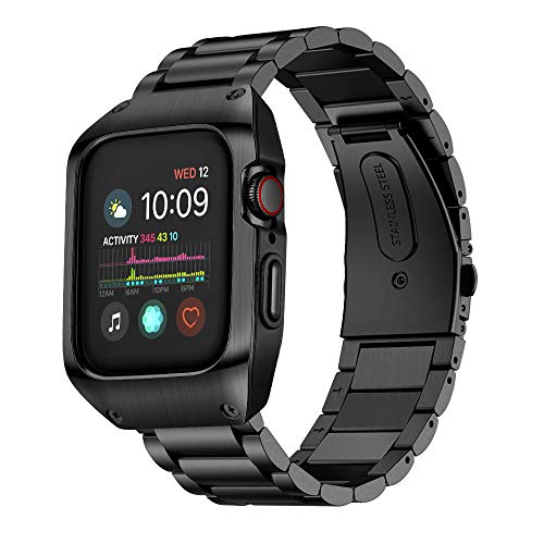 EloBeth Compatible with Apple Watch Band 44mm Series 4 with Case, Stainless Steel iWatch Bands & Protective Cover for Apple Watch Series4 44mm (Black) (Best Covers By Metal Bands)