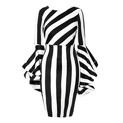 Romantiko Ladies Oversize Long Sleeve Stripe Print Soft Knee Length High Waist Dresses Black 3XL -