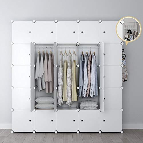 (YOZO Modular Wardrobe Portable Clothes Closet Garment Rack Polyresin Storage Organizer Bedroom Armoire Cubby Shelving Unit Dresser Multifunction Cabinet DIY Furniture, White, 25 Cubes )