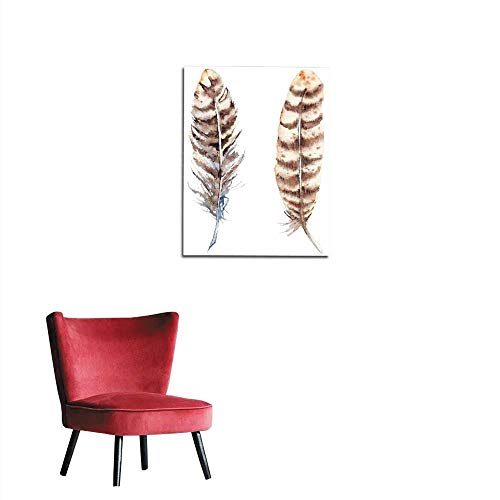 longbuyer Wall Paper Watercolor Brown Beige Stripe Feather Set Isolated Mural 24