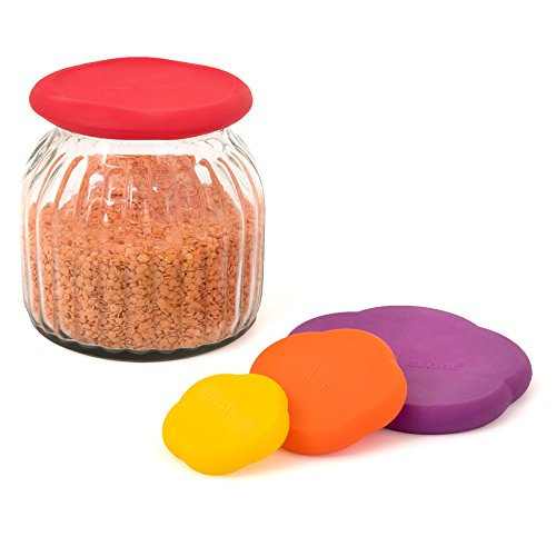 Kitchen Saver Silicone Reusable Stretchable 4 Pack Coloring Food Cover - Fruits,Cans, Baby Food, Cat Food, Dog Food - By Depot Globe