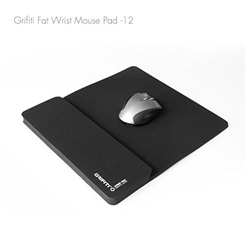 Grifiti Fat Mouse Wrist Pad 12 Jumbo Size Wrist Pad and Mouse Pad Is 13 X 11.75 Inch Combined 9 Inch Mouse Pad and 12 Inch Wrist Rest for Mice, Keypads, Numberpads, Trackpads, Trackballs, Adding Machines, Printing Calculators Including Filco, Hp, Kensingt
