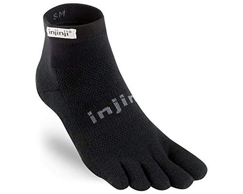 Injinji 2.0 Men's Run Lightweight Mini Crew Toesocks, Black, Medium
