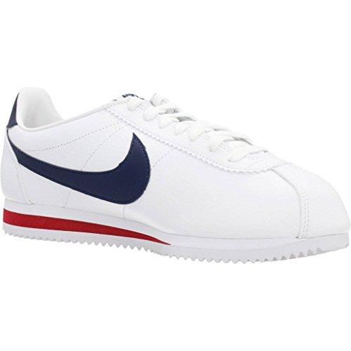 Nike Herren Classic Cortez Leather Laufschuhe Blanco / Azul / Rojo (White / Midnight Navy-Gym Red)