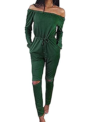 Haola Women's Fashion off-Shoulder Drawstring Jumpsuits Girls Cute Rompers Knee Hole Pants