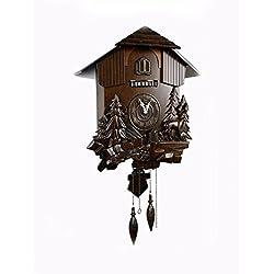 WAWZJ Retro cuckoo clock, wooden clock cuckoo clock Linden, living room, sun cuckoo clock, high-grade Cuckoo Clock