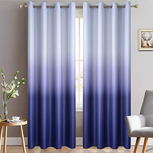 Yakamok Gradient Color Ombre Blackout Curtains Thickening Polyester Thermal Insulated Grommet Window Drapes for Living Room/Bedroom (Indigo Blue, 2 Panels, 52x84 Inch) ()