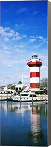 Harbour Town Lighthouse, Hilton Head Island, South Carolina by Panoramic Images Canvas Art Wall Picture, Museum Wrapped with Gray Sides, 10 x 29 inches