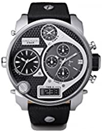 Mens DZ7125 Black SBA Oversized Analog-Digital Black and Silver Dial