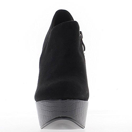 boots Low bi 5 thick 12 material cm heel black w7wrC8q